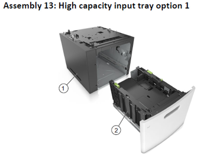 Lexmark MS810 Assembly 13: High Capacity Input Tray Option 1