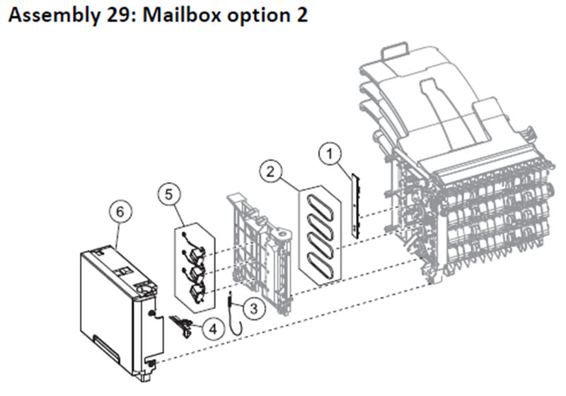 Lexmark MS810 Assembly 29: Mailbox Option 2