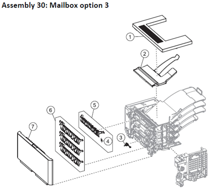 Lexmark MS810 Assemly 30: Mailbox Option 3