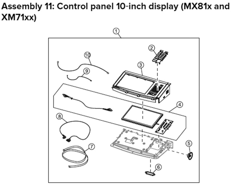 Lexmark MX810 Assembly 11: Control Panel, MX81x, 10-inch Display