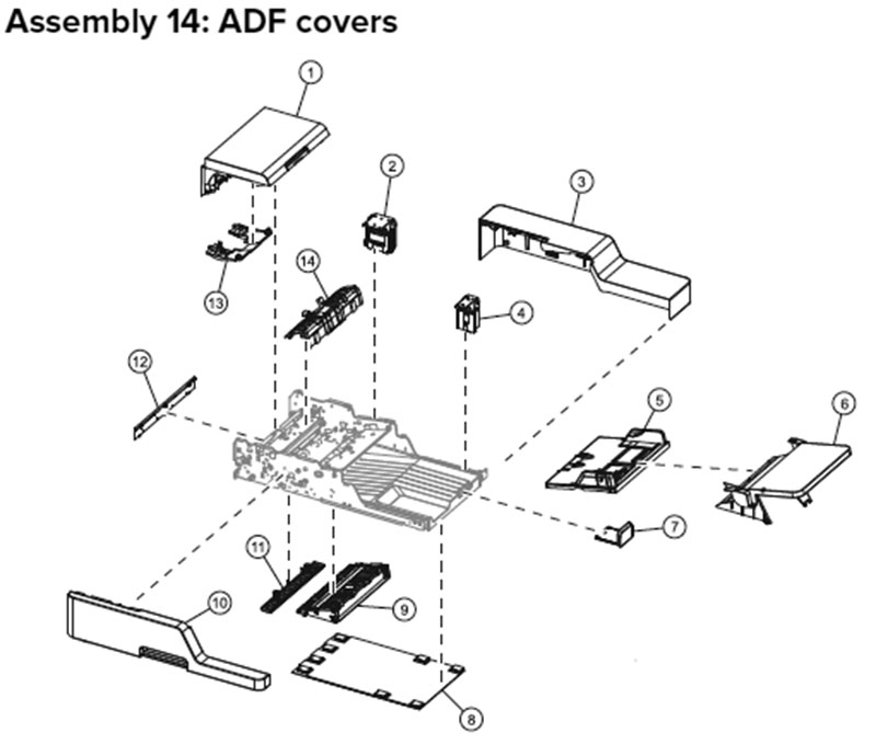 Lexmark MX710, MX810 Assembly 14: ADF Covers