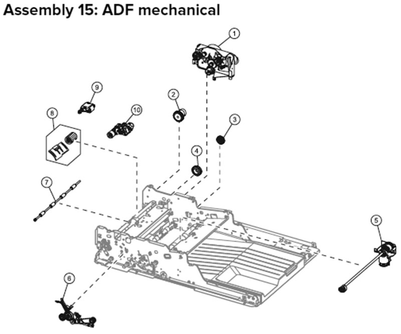 Lexmark MX710, MX810 Assembly 15: ADF Mechanical