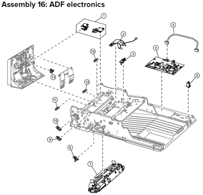 Lexmark MX710, MX810 Assembly 16: ADF Electronics