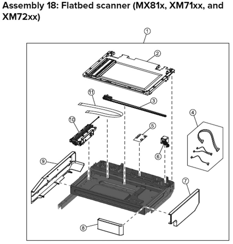 Lexmark MX810 Assembly 18: Flatbed Scanner, MX81x