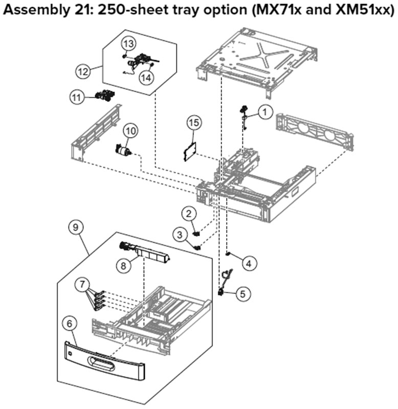 Lexmark MX710 Assembly 21: 250-Sheet Tray Option, MX71x