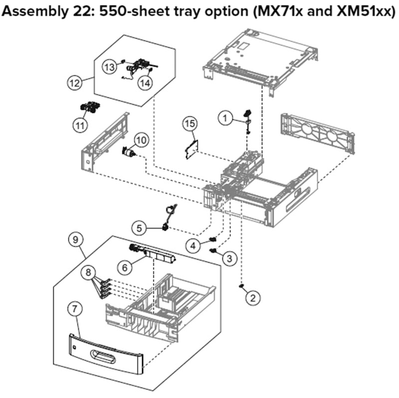 Lexmark MX710 Assembly 22: 550-Sheet Tray Option, MX71x