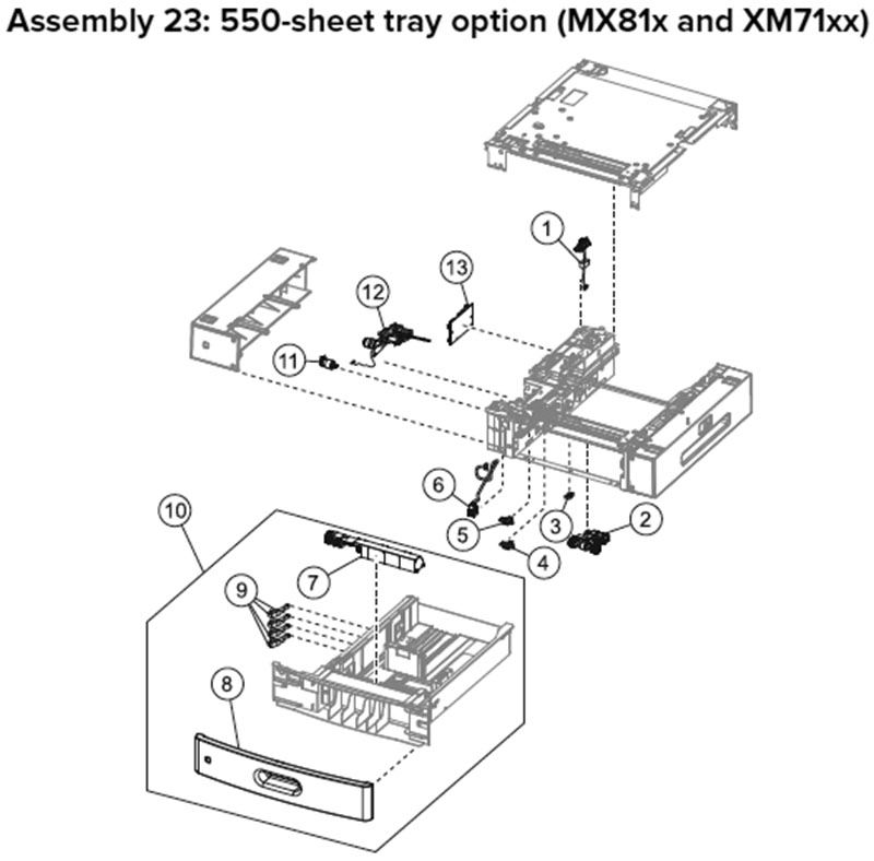 Lexmark MX810 Assembly 23: 550-Sheet Tray Option, MX81x