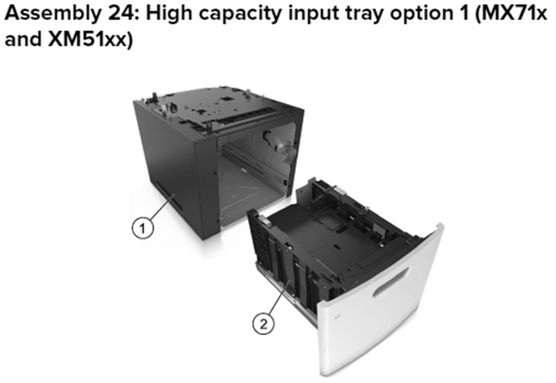Lexmark MX710 Assembly 24: High Capacity Input Tray Option 1, MX71x