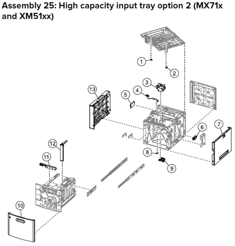 Lexmark MX710 Assembly 25: High Capacity Input Tray Option 2, MX71x