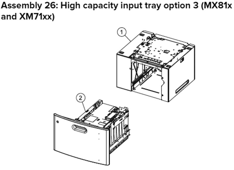 Lexmark MX810 Assembly 26: High Capacity Input Tray Option 3, MX81x
