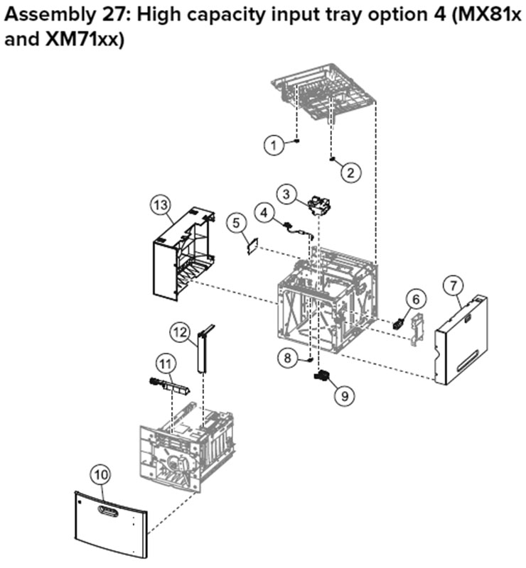 Lexmark MX810 Assembly 27: High Capacity Input Option 4, MX81x