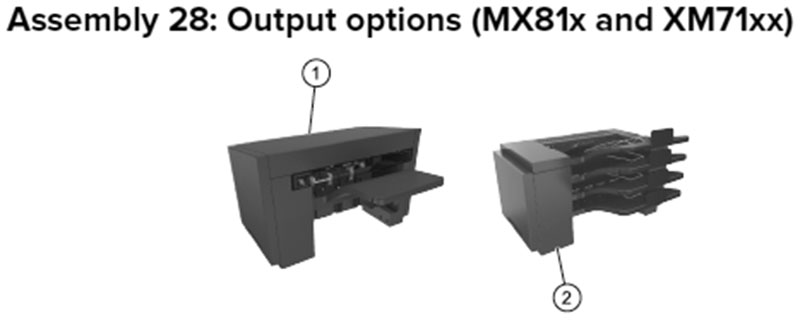 Lexmark MX810 Assembly 28: Output Options, MX81x