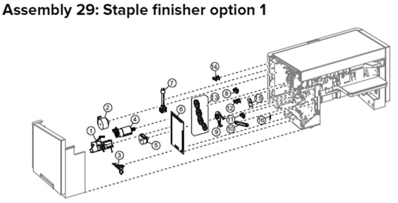 Lexmark MX710, MX810 Assembly 29: Staple Finisher Option 1