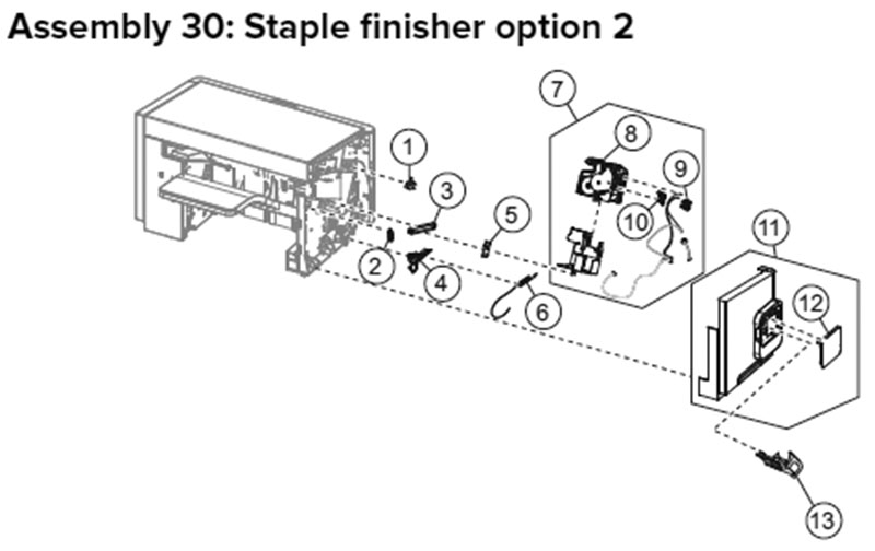 Lexmark MX710, MX810 Assembly 30: Staple Finisher Option 2