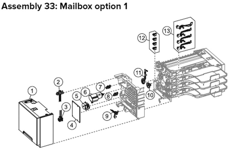 Lexmark MX710, MX810 Assembly 33: Mailbox Option 1