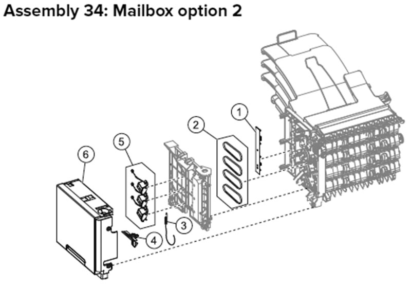 Lexmark MX710, MX810 Assembly 34: Mailbox Option 2