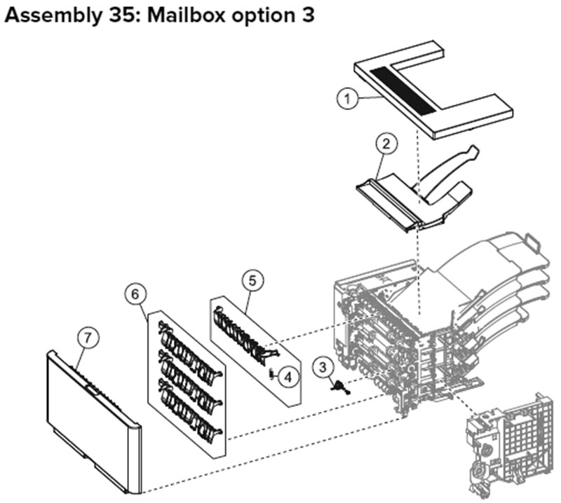 Lexmark MX710, MX810 Assembly 35: Mailbox Option 3