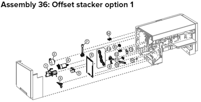 Lexmark MX710, MX810 Assembly 36: Offset Stacker Option 1
