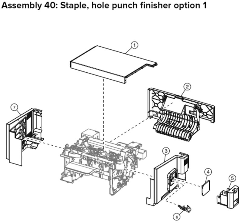 Lexmark MX710, MX810 Assembly 40: Staple,Hole Punch Finisher Option 1