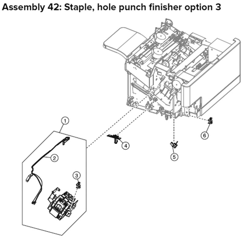 Lexmark MX710, MX810 Assembly 42: Staple, Hole Punch Finisher Option 3