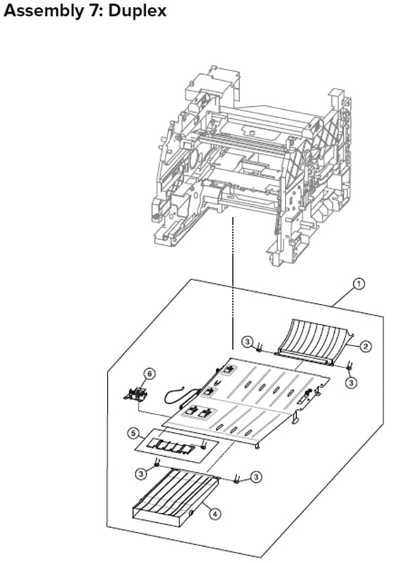 Lexmark MX710, MX810 Assembly 7: Duplex