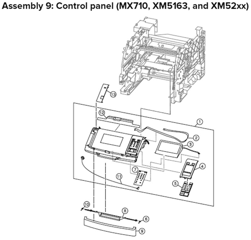 Lexmark MX710 Assembly 9: Control Panel, MX710 only